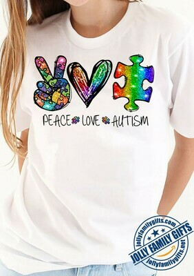 Peace Love Autism Cure Puzzle Ribbon Diabetes Awareness Day  Unisex T-Shirt Hoodie Sweatshirt Sweater Plus Size for Ladies Women Men Kids Youth Gifts Tee Jolly Family Gifts