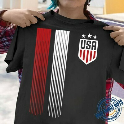 Cool USA Soccer Primary Logo Football Team US Flag T-shirt for Men Women Player Coach Soccer Club Unisex T-Shirt Hoodie Sweatshirt Sweater Plus Size for Ladies Women Men Kids Youth Gifts Tee Jolly