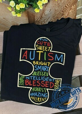 Fun cute sweet autism bright smart blessed Puzzle Piece Words Autistic Gift  Unisex T-Shirt Hoodie Sweatshirt Sweater Plus Size for Ladies Women Men Kids Youth Gifts Tee Jolly Family Gifts