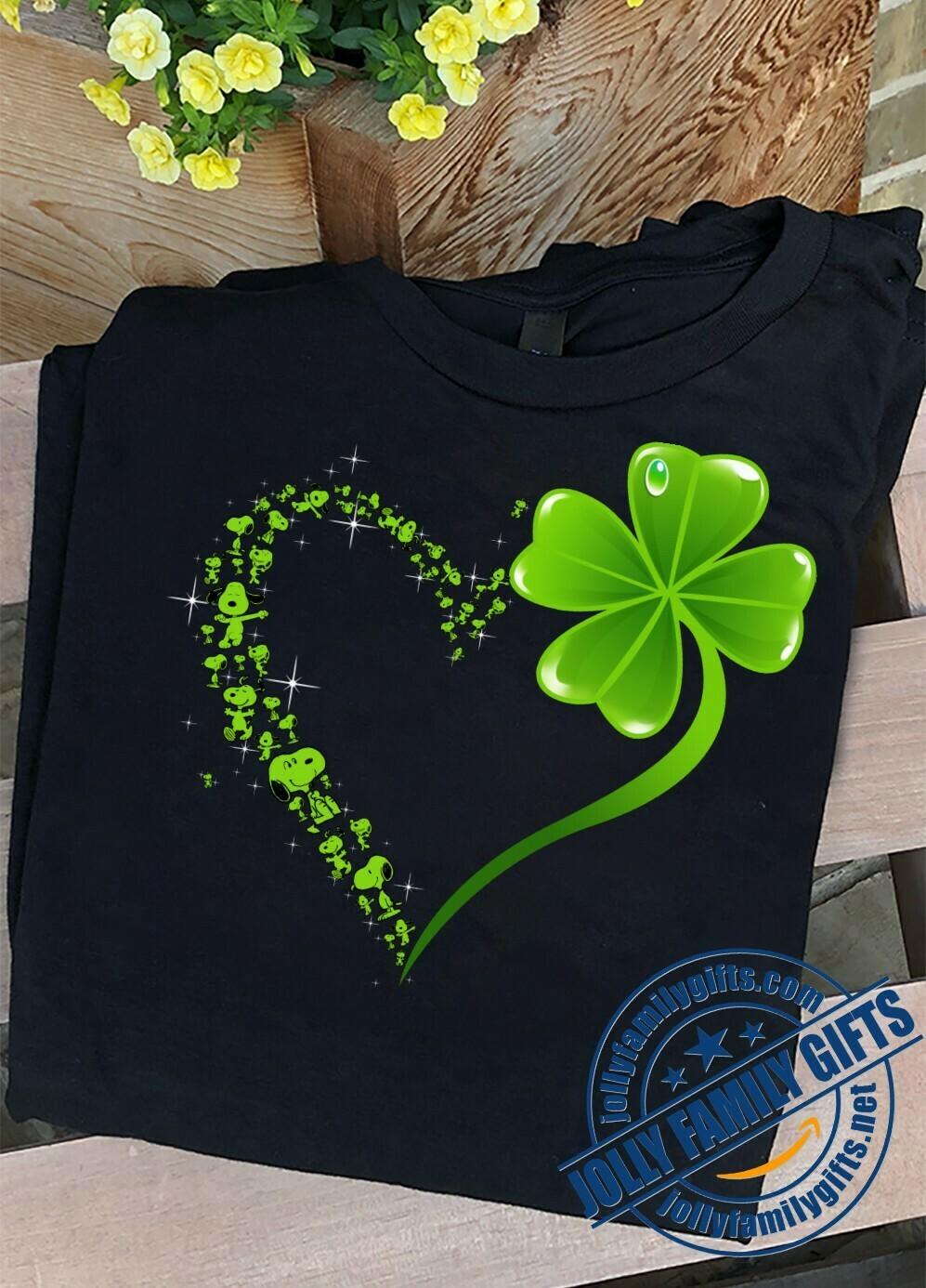 Irish Snoopy Peanuts Leprechauns Shamrock Hippie Peace Sign St Patrick Day Flowery Round  Unisex T-Shirt Hoodie Sweatshirt Sweater Plus Size for Ladies Women Men Kids Youth Gifts Tee Jolly Family