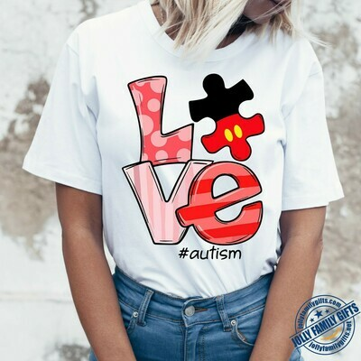 Love Autism Awareness Support Puzzle Piece Jigsaw Heart for Men Women Dad mama mom Unisex T-Shirt Hoodie Sweatshirt Sweater Plus Size for Ladies Women Men Kids Youth Gifts Tee Jolly Family Gifts