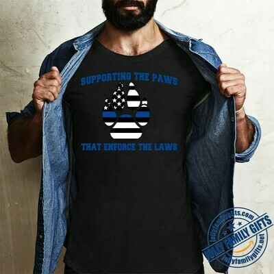 Supporting the Paws That Enforce Laws American flag for men women Unisex T-Shirt Hoodie Sweatshirt Sweater Plus Size for Ladies Women Men Kids Youth Gifts Tee Jolly Family Gifts
