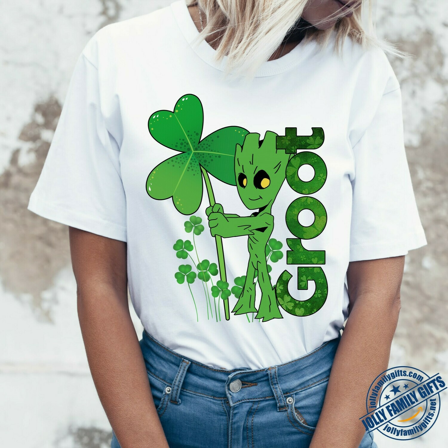 Happy St Patrick's Day Baby Groot hugs Green Shamrock Guardians of the Galaxy movie  Unisex T-Shirt Hoodie Sweatshirt Sweater Plus Size for Ladies Women Men Kids Youth Gifts Tee Jolly Family Gifts