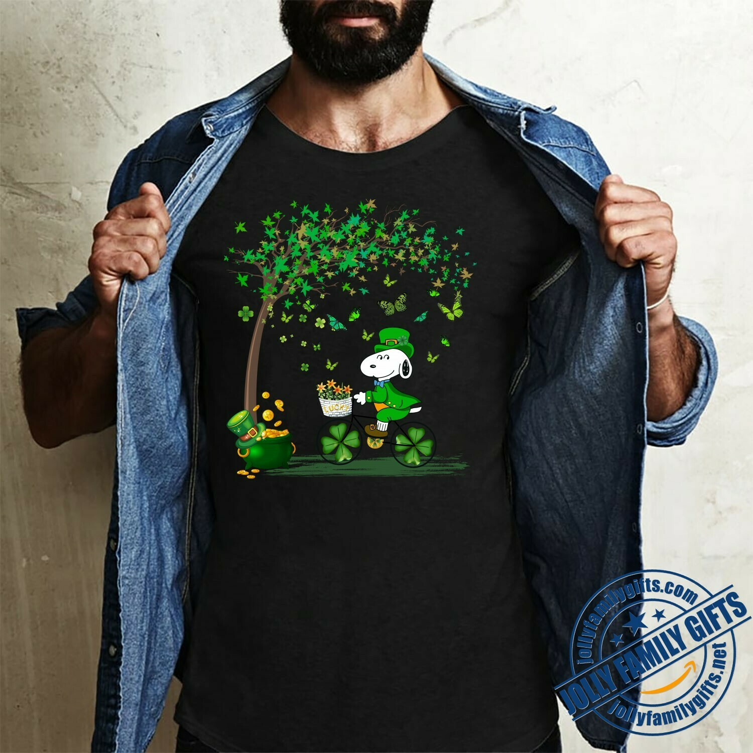 Irish Snoopy Driving Bicycle St. Patrick's Day Peanuts Leprechauns Lucky Charm Pots of Gold Shamrocks  Unisex T-Shirt Hoodie Sweatshirt Sweater Plus Size for Ladies Women Men Kids Youth Gifts Tee