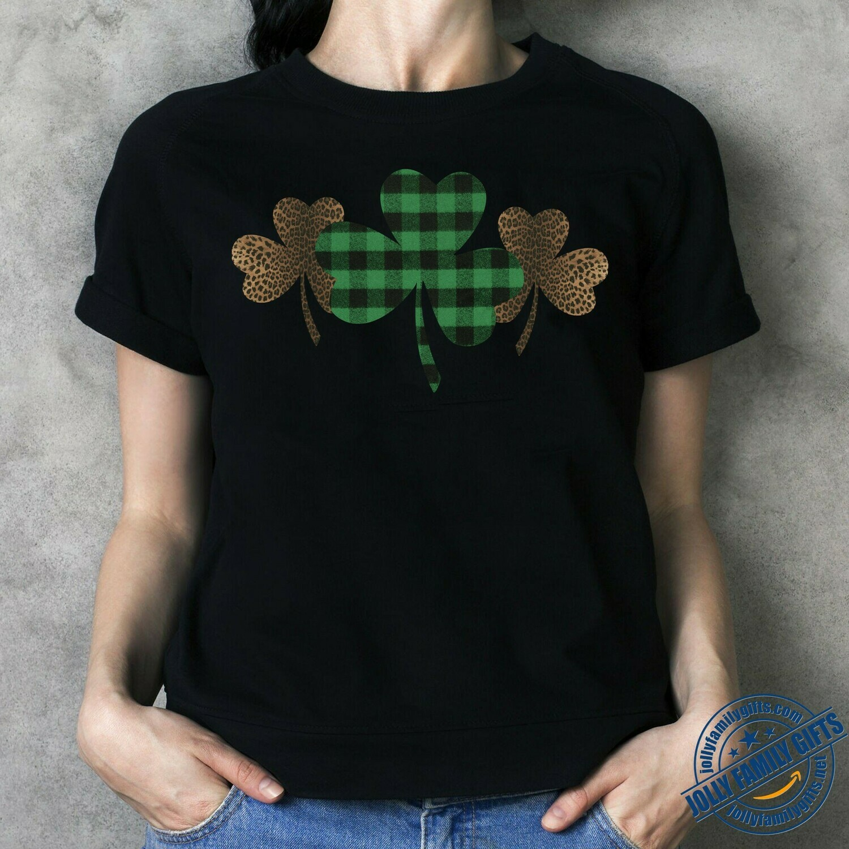 Lucky Irish St. Patrick's Day Shirt Buffalo Plaid Shamrock Clover Graphic  Unisex T-Shirt Hoodie Sweatshirt Sweater Plus Size for Ladies Women Men Kids Youth Gifts Tee Jolly Family Gifts