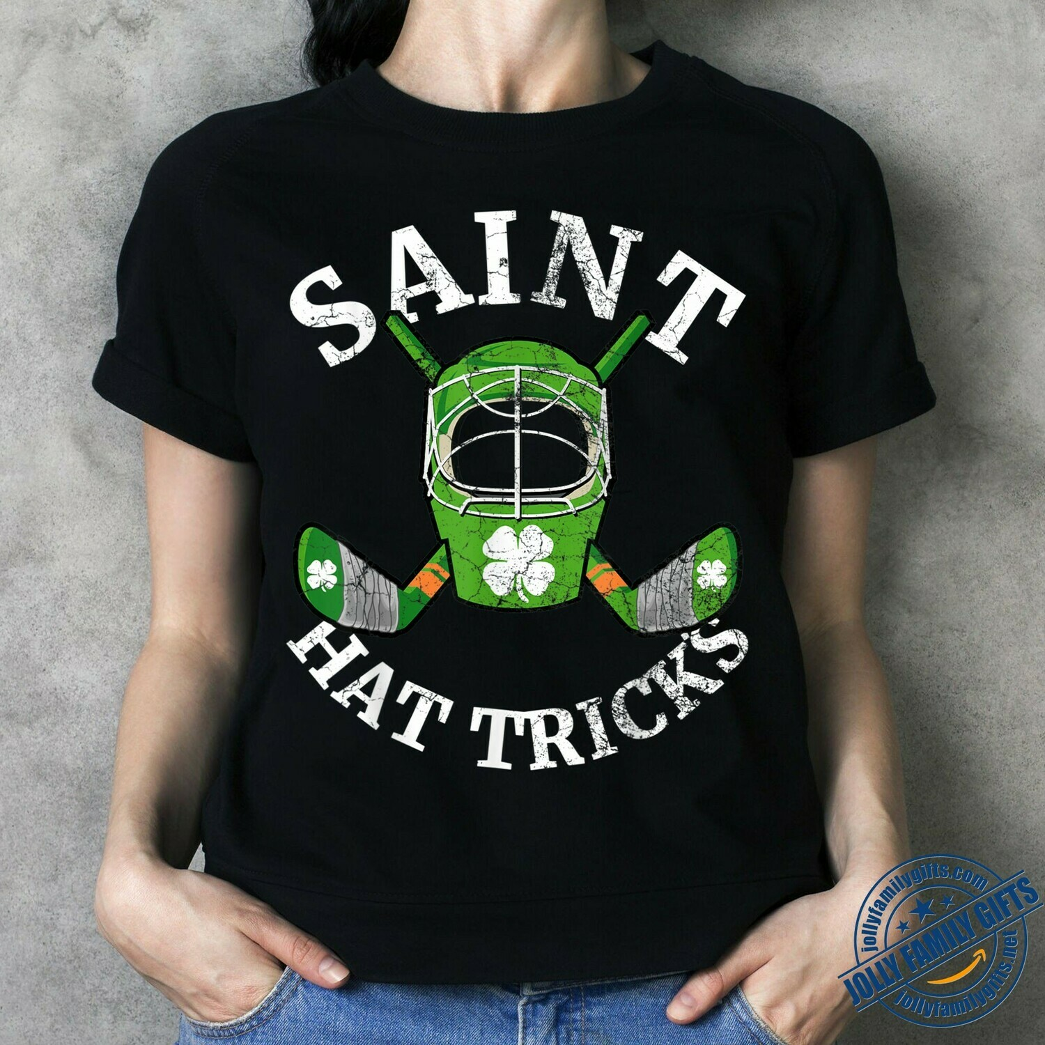 Saint Hat Tricks Ice Hockey Irish Shamrock clover St Patrick's Day  Unisex T-Shirt Hoodie Sweatshirt Sweater Plus Size for Ladies Women Men Kids Youth Gifts Tee Jolly Family Gifts