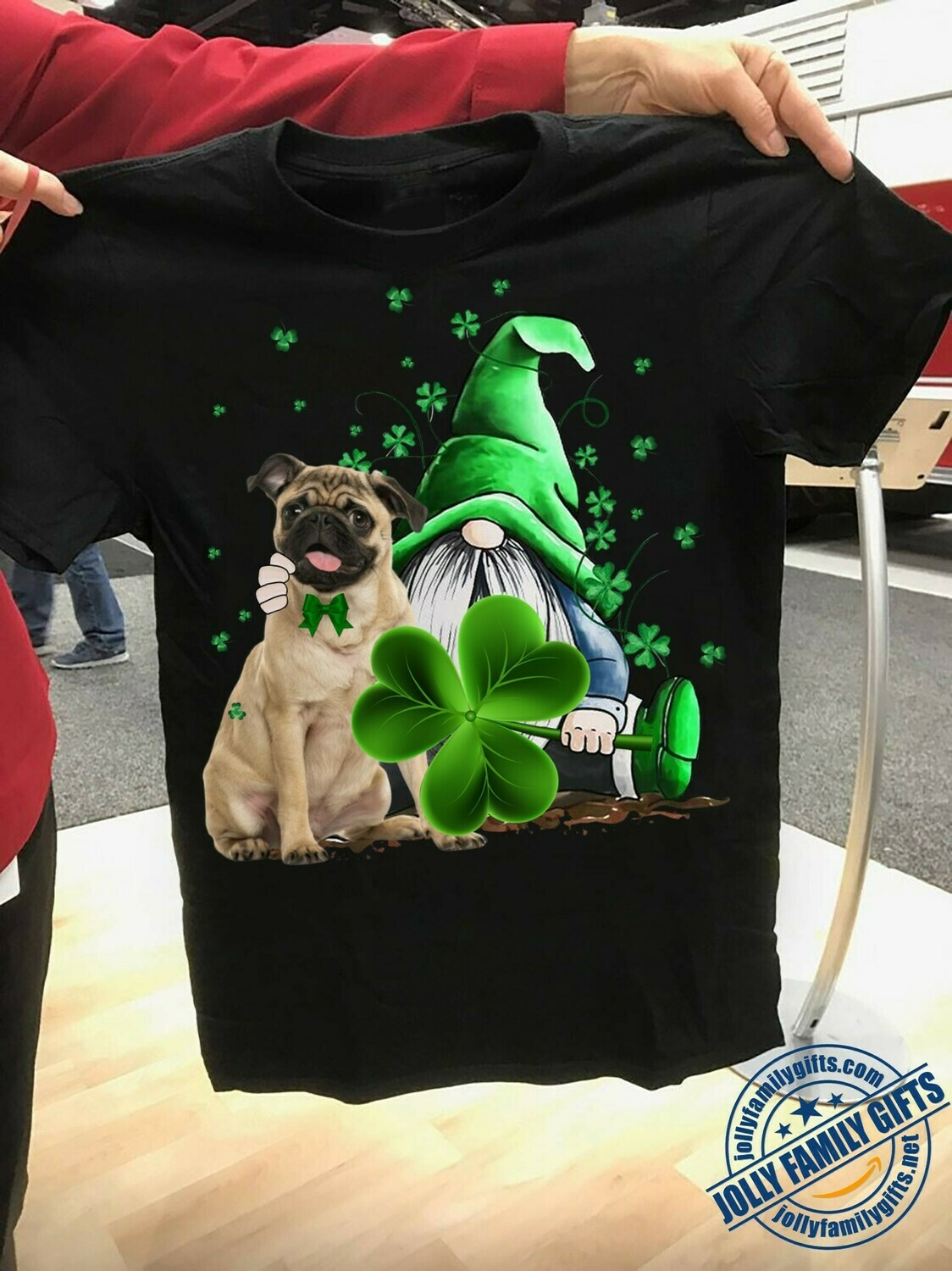 Irish Pug Breed dog and Hippie Gnome Hug Green Shamrocks Four Leaf Clover happy Patrick's Day  Unisex T-Shirt Hoodie Sweatshirt Sweater Plus Size for Ladies Women Men Kids Youth Gifts Tee Jolly