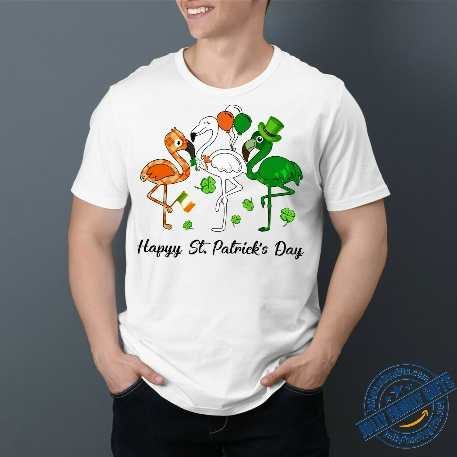 Happy St. Patrick's Day Multicolor Flamingos Leprechaun A wee bit Irish today at Large  Unisex T-Shirt Hoodie Sweatshirt Sweater Plus Size for Ladies Women Men Kids Youth Gifts Tee Jolly Family Gifts