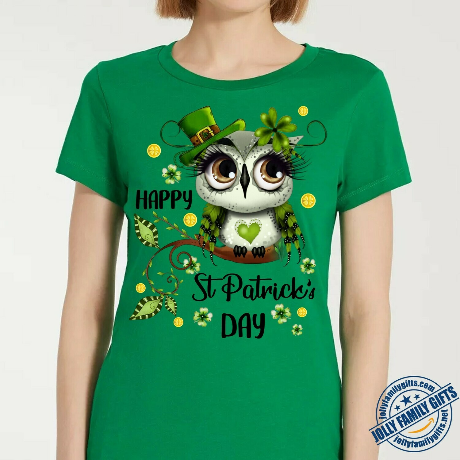 Cute Irish Owl Leprechaun Shamrock Green Four Leaf Clover Lovers Happy St Patrick Day  Unisex T-Shirt Hoodie Sweatshirt Sweater Plus Size for Ladies Women Men Kids Youth Gifts Tee Jolly Family Gifts