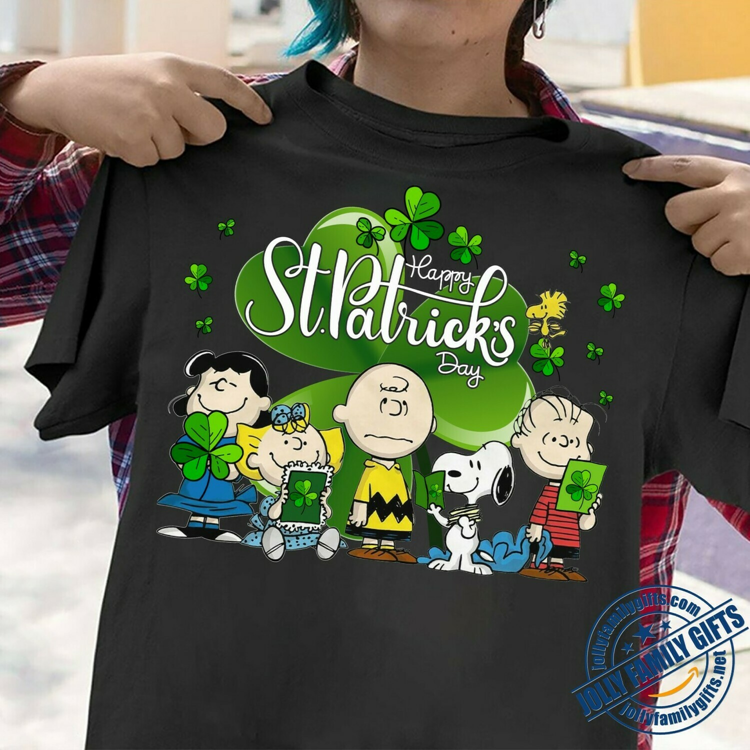 Snoopy,Woodstock,Charlie Brown Lucy Sally and Friends hug Shamrock Clover Happy St. Patrick's Day The Peanuts Movie  Unisex T-Shirt Hoodie Sweatshirt Sweater Plus Size for Ladies Women Men Kids Youth