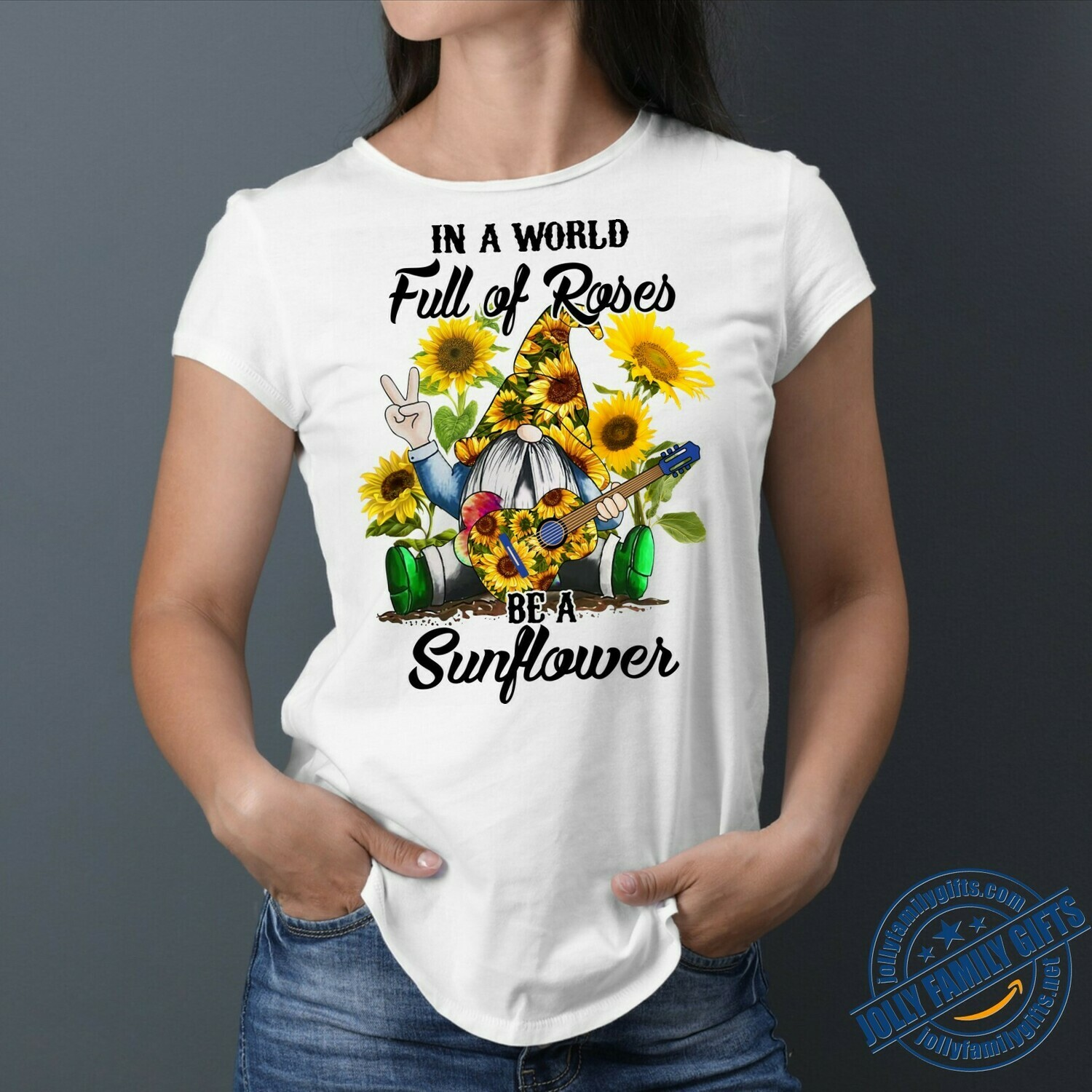 In A world full of Rose Be a Sun Flower Gnome play Guitar Gift For Men Women Unisex T-Shirt Hoodie Sweatshirt Sweater Plus Size for Ladies Women Men Kids Youth Gifts Tee Jolly Family Gifts