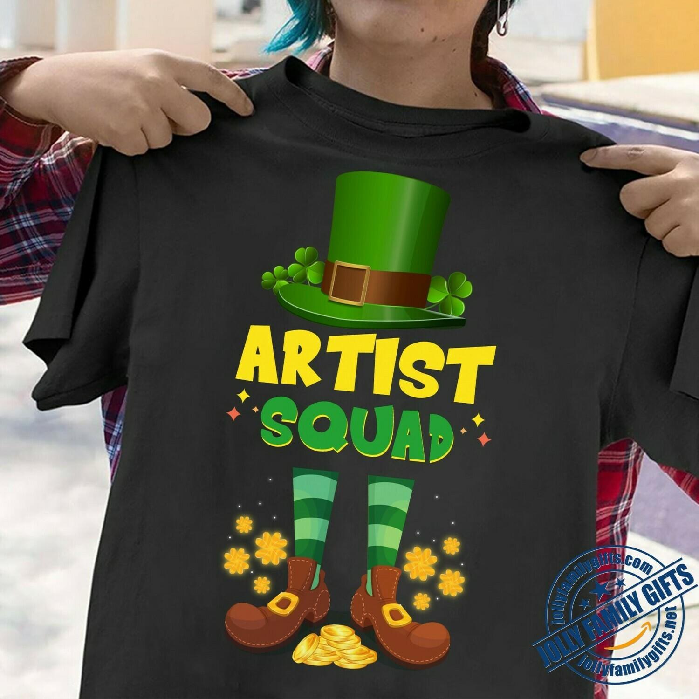 Irish Artist Squad Leprechaun Shamrock clover Art Cool St Patrick Day  Unisex T-Shirt Hoodie Sweatshirt Sweater Plus Size for Ladies Women Men Kids Youth Gifts Tee Jolly Family Gifts