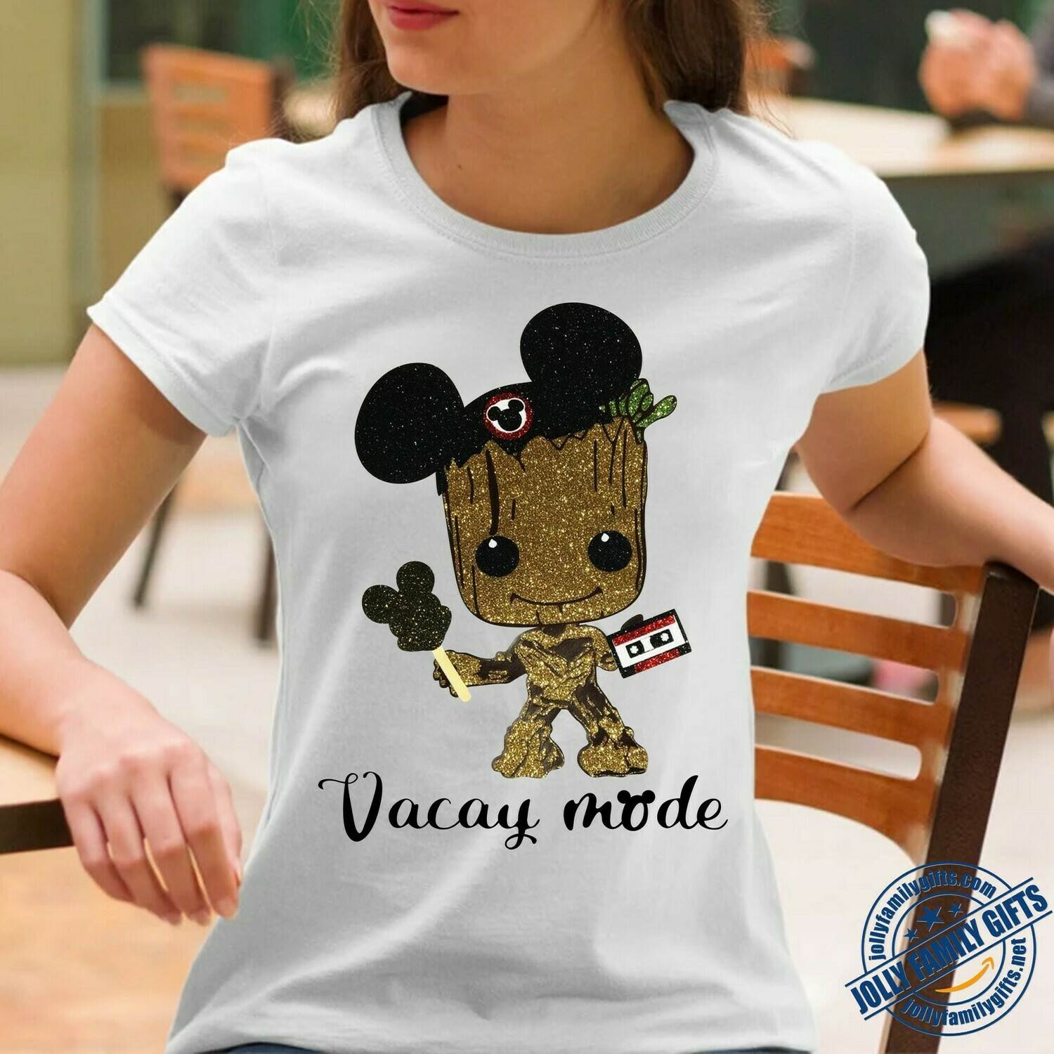 Baby Groot Mickey Ears Vacay Mode Guardians of the Galaxy Disney Movie Princess Walt Disney Family Vacation Go to Disney World  Unisex T-Shirt Hoodie Sweatshirt Sweater Plus Size for Ladies Women Men