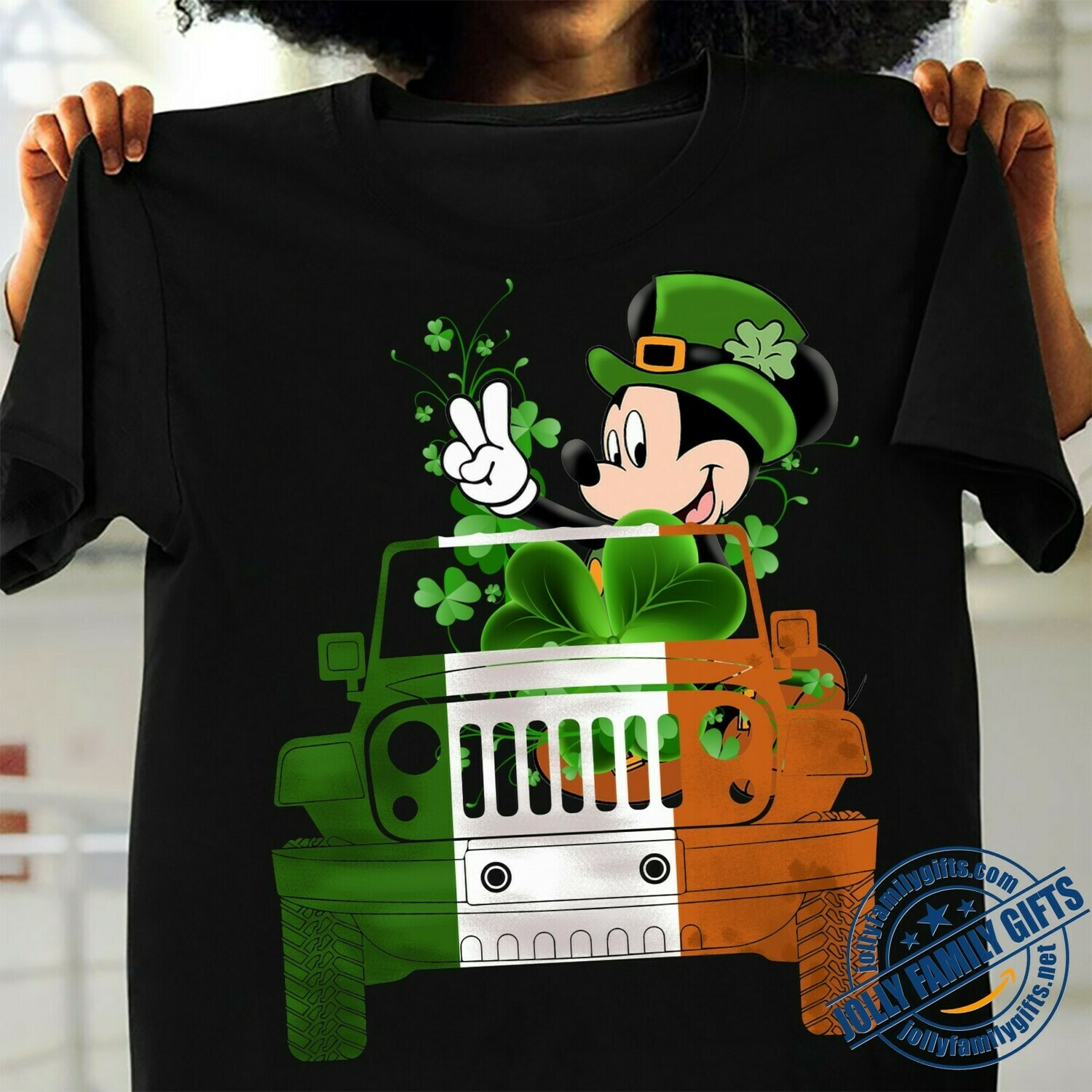 Green Disney Mickey Mouse Driving Jeep Car Shamrock Four Leaf Clover Happy St. Patrick's Day Luck Charm of the Irish Disneyland  Unisex T-Shirt Hoodie Sweatshirt Sweater Plus Size for Ladies Women Men