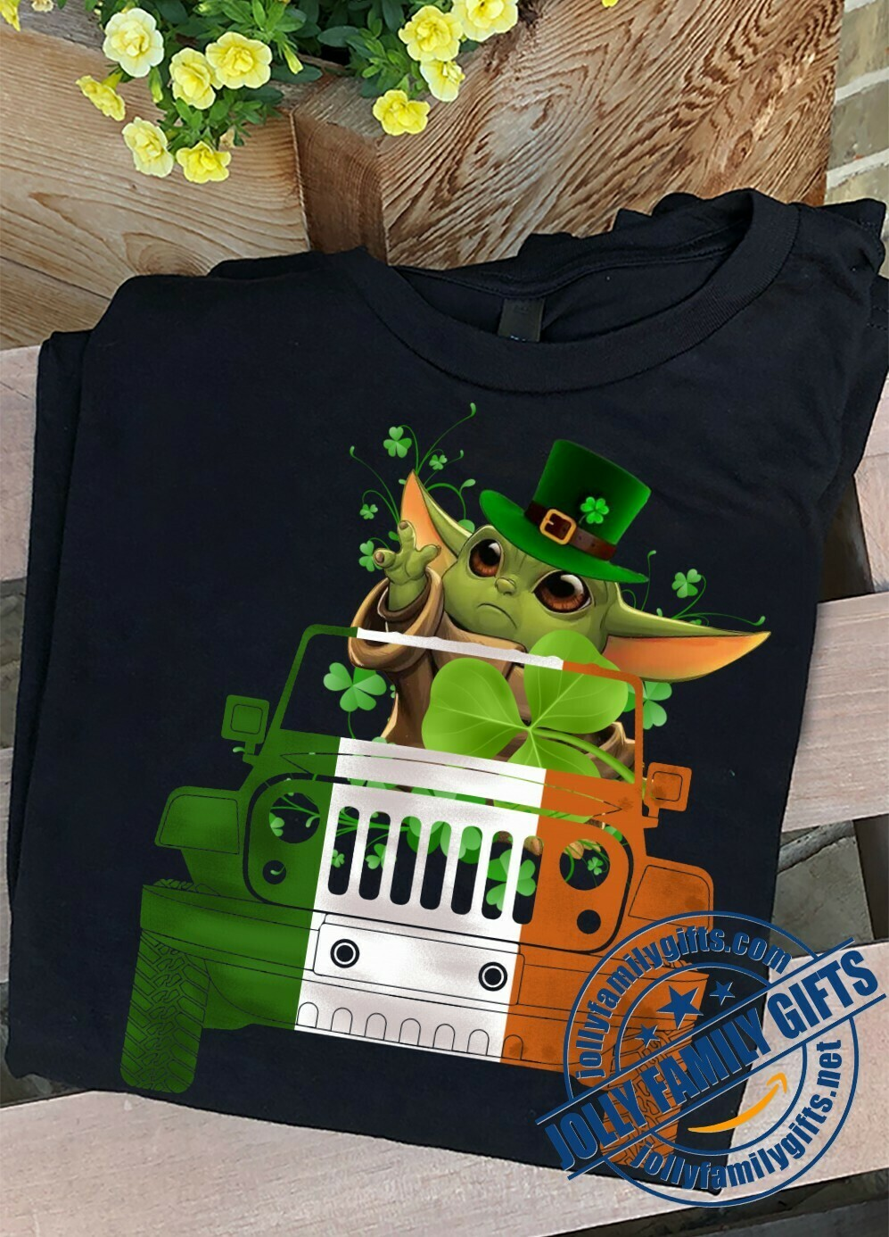 Baby Yoda The Mandalorian Star Wars Driving Jeep Car Shamrock Four Leaf Clover Happy St. Patrick's Day Luck Charm of the Irish Fans  Unisex T-Shirt Hoodie Sweatshirt Sweater Plus Size for Ladies Women