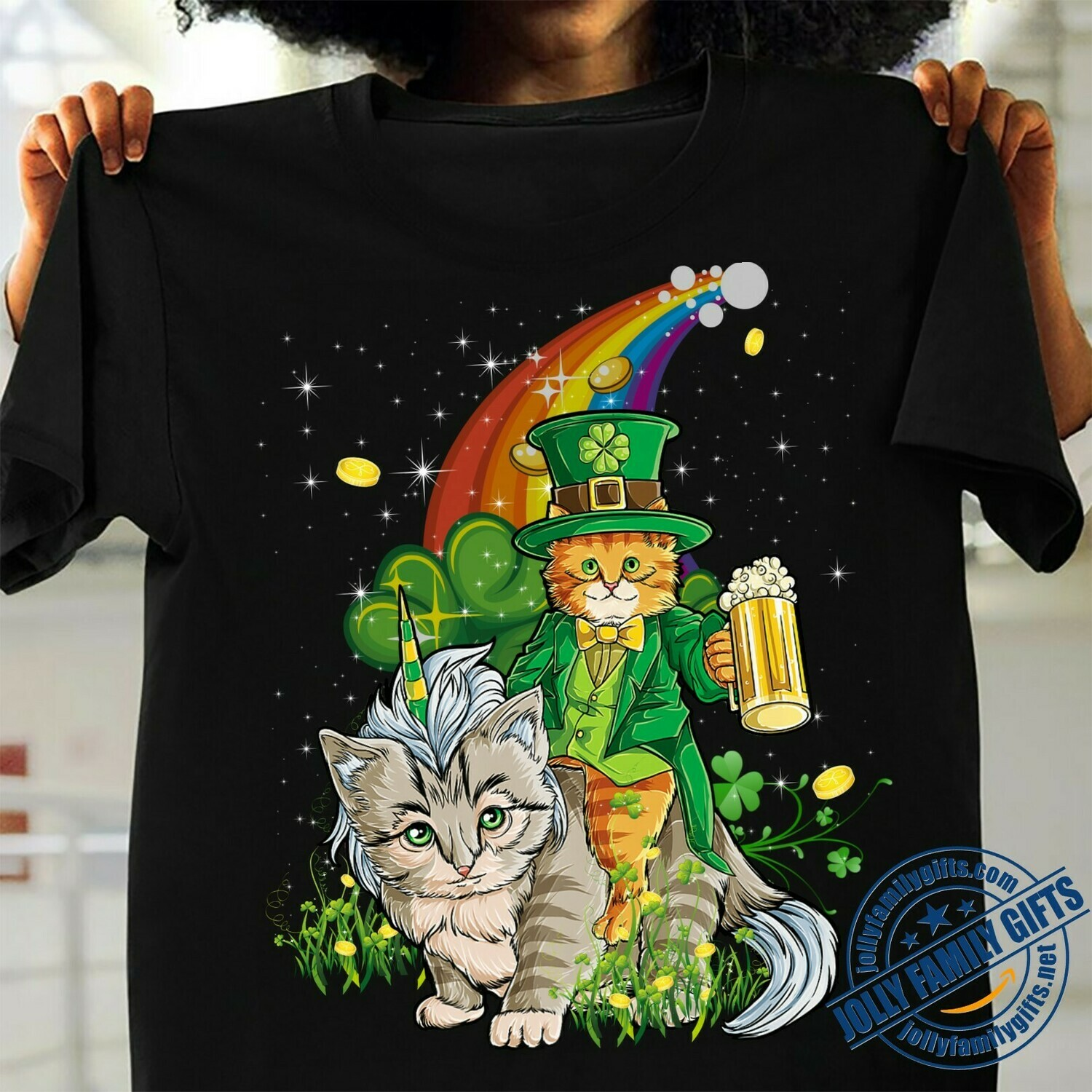 Cats Caticorn Leprechaun Paddy's Day Happy St. Catricks Day My Cat Is My Lucky Charm Happy Patrick's Day Gift for Cat Lovers Dad Mom  Unisex T-Shirt Hoodie Sweatshirt Sweater Plus Size for Ladies