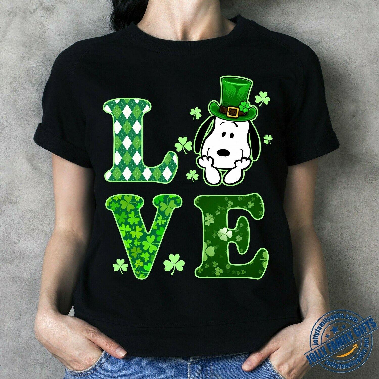Snoopy Irish love st Patrick's Day with Green Hats,Peanuts Shamrock four leaf Clover Feelin' Lucky Day  Unisex T-Shirt Hoodie Sweatshirt Sweater Plus Size for Ladies Women Men Kids Youth Gifts Tee