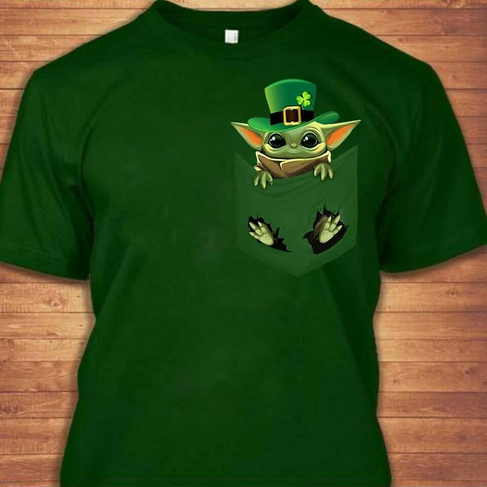 Baby Yoda Cute Irish pocket Green Leprechauns St. Patrick's Day The Mandalorian Death Watch Star Wars Movie  Unisex T-Shirt Hoodie Sweatshirt Sweater Plus Size for Ladies Women Men Kids Youth Gifts
