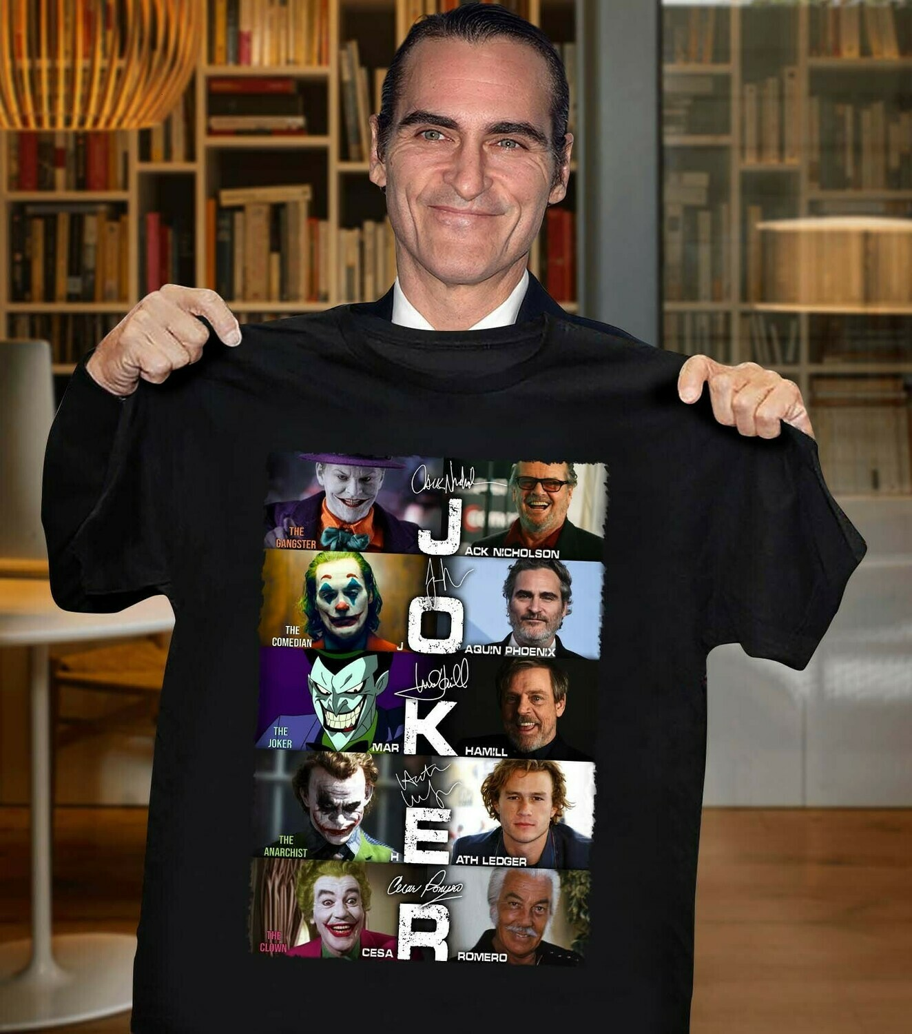 The Joker Put On A Happy Face Joaquin Phoenix Heath Ledger 60 years 1960-2020 thank you for the memories signature  Unisex T-Shirt Hoodie Sweatshirt Sweater Plus Size for Ladies Women Men Kids Youth