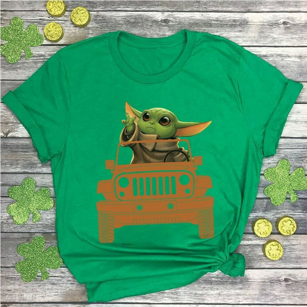 Baby Yoda Driving Jeep Car Happy St. Patrick's Day The Mandalorian with death Star Wars Movie The Rise of Skywalker Galaxy fan Gift  Unisex T-Shirt Hoodie Sweatshirt Sweater Plus Size for Ladies Women