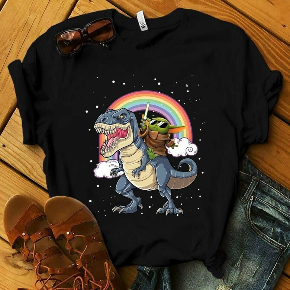 Baby Yoda riding Dinosaur rainbow vintage The Mandalorian Death Watch Star Wars Dinosaur Park movies  Unisex T-Shirt Hoodie Sweatshirt Sweater Plus Size for Ladies Women Men Kids Youth Gifts Tee Jolly