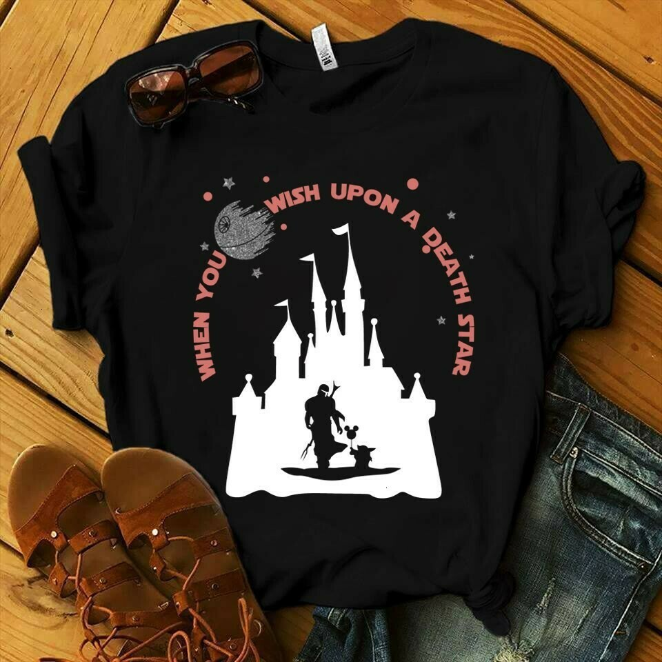 When you wish upon a Death Star Baby Yoda The Mandalorian Star Wars Darth Vader Disney Family Vacation Go to Disney World Disneyland  Unisex T-Shirt Hoodie Sweatshirt Sweater Plus Size for Ladies