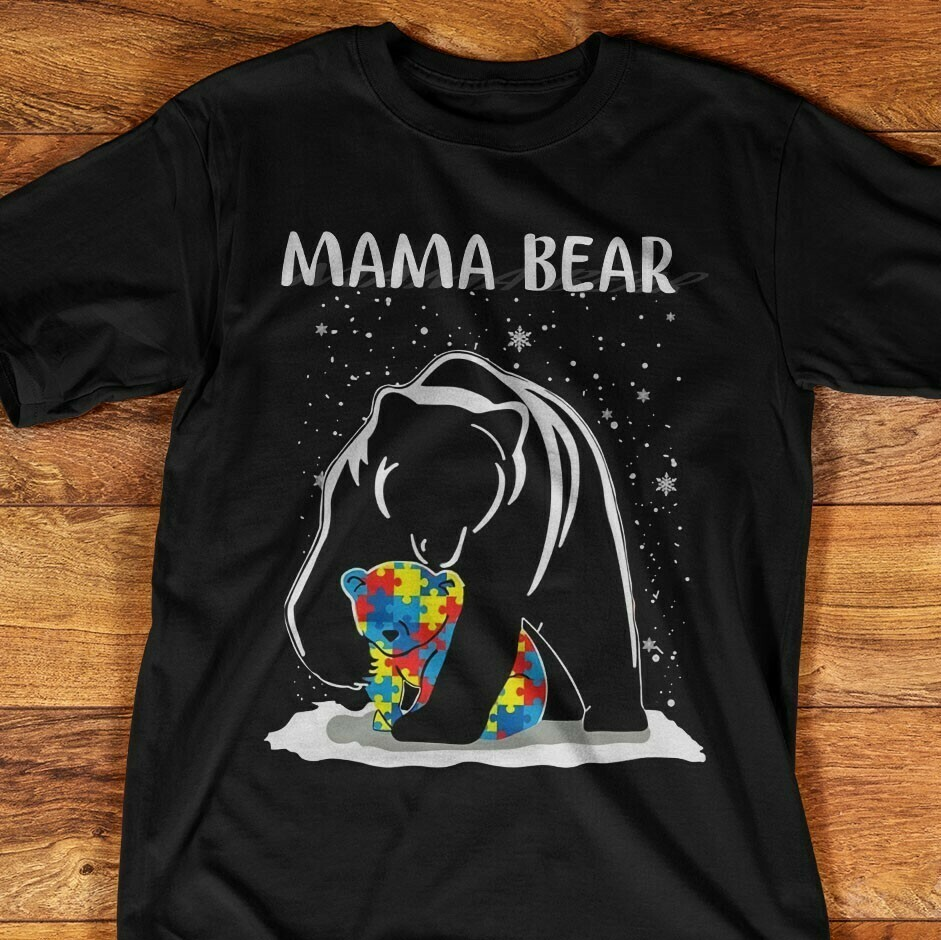 Autism Awareness Mama Bear Momma Cute Popular Woman's Heather  Unisex T-Shirt Hoodie Sweatshirt Sweater Plus Size for Ladies Women Men Kids Youth Gifts Tee Jolly Family Gifts