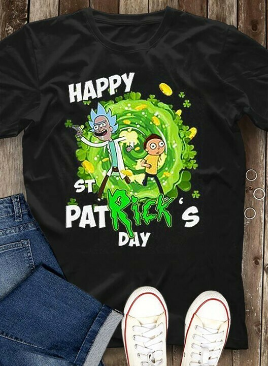 Rick And Morty Happy St Patrick's Day Flip The Bird Rick And Morty Shamrock Boobs for Retro  Unisex T-Shirt Hoodie Sweatshirt Sweater Plus Size for Ladies Women Men Kids Youth Gifts Tee Jolly Family