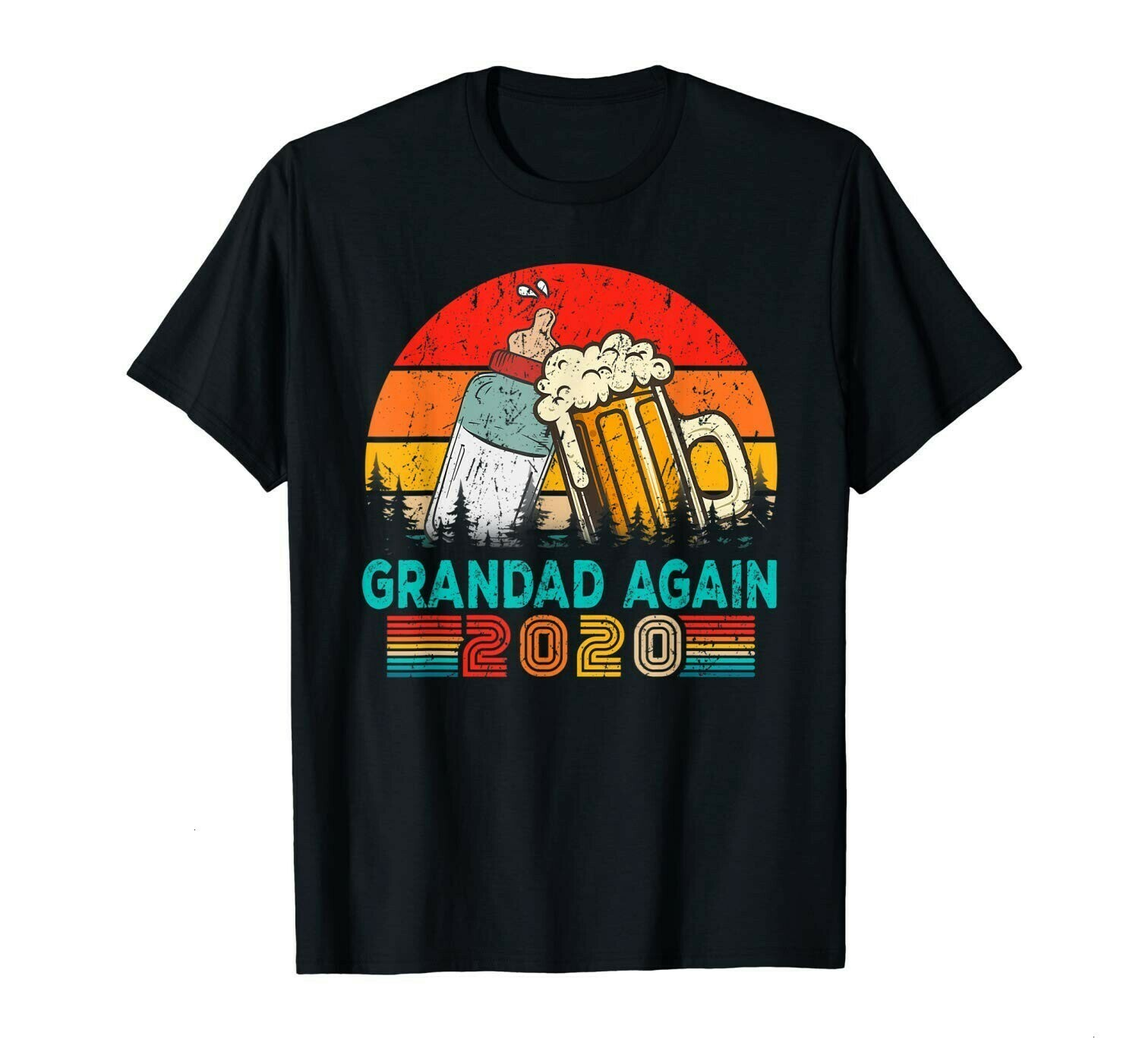 Vintage Grandad Again Est 2020 Costume Baby Shower Gift  Unisex T-Shirt Hoodie Sweatshirt Sweater Plus Size for Ladies Women Men Kids Youth Gifts Tee Jolly Family Gifts