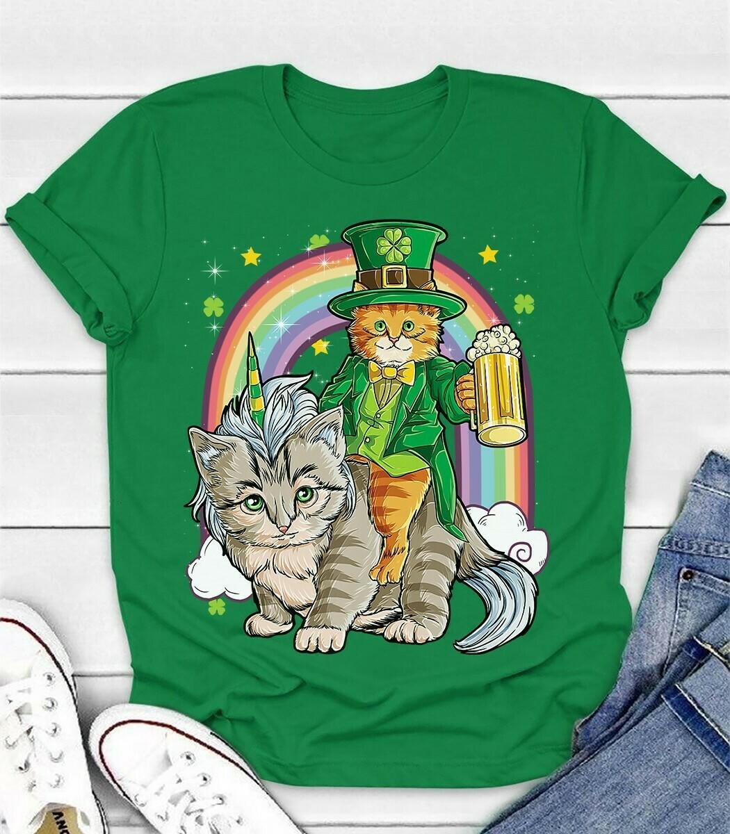 Cat Leprechaun drinking Beer Riding Caticorn Unicorn St Patricks Day Rainbow Gift for Cat Lovers Dad Mom Unisex T-Shirt Hoodie Sweatshirt Sweater Plus Size for Ladies Women Men Kids Youth Gifts Tee