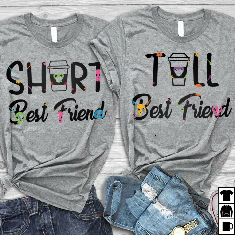 Short Best Friend Tall Best Friend Coffee Cup Bestie for Her Him Men Women Dad Mom Unisex T-Shirt Hoodie Sweatshirt Sweater Plus Size for Ladies Women Men Kids Youth Gifts Tee Jolly Family Gifts