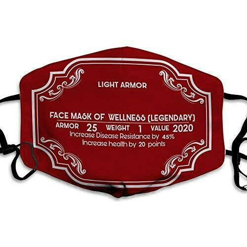 Light Armor Face Mask,RPG Video Game Skyrim Mask,100% Cotton Inside,Reusable,Washable,Very Comfortable Adult Mask For Face