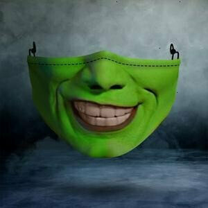 Jim Carrey Green Horror Halloween Movie 3 Layer Face Mask,Adult Kid FaceMask,Washable Reusable Face Mask
