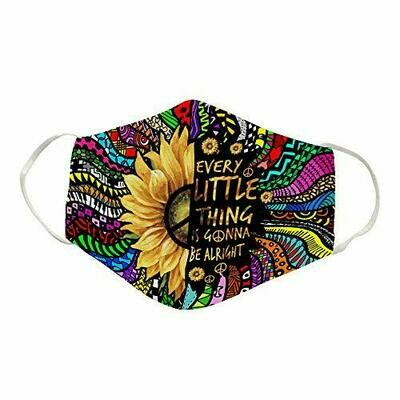 Hippie Peace Every Little Thing Is Gonna Be Alright 3D Cotton Face Mask,Washable Anti Droplet Face Mask
