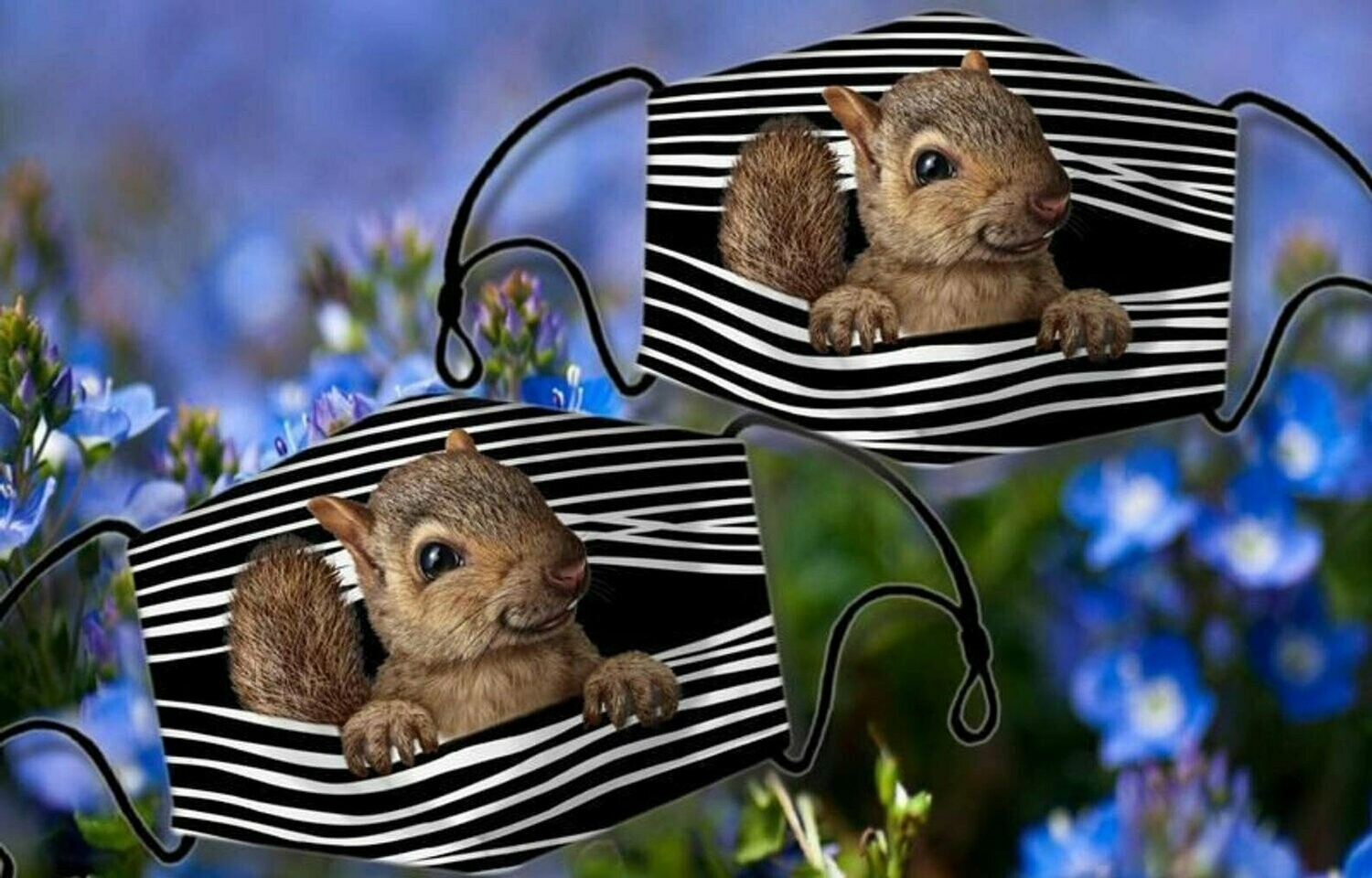Squirrel On Pocket Animal Flower 3 Layer Face Mask,Adult FaceMask,Washable Reusable Face Mask