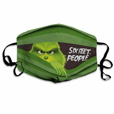 Six Feet People Grinch Mask Pocket 3 Layer Face Mask,Adult FaceMask,Washable Reusable Face Mask,Made In Usa