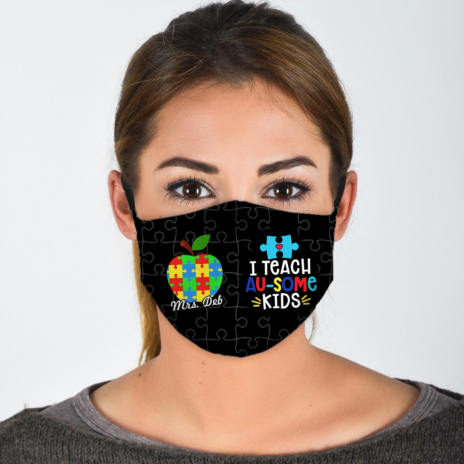 Personalized Custom Name ausome Autism Teacher teaching kids Washable Anti Droplet Dust Filter Reusable Cotton 3D Face Mask Jolly Family Gifts Jolly Family Gifts