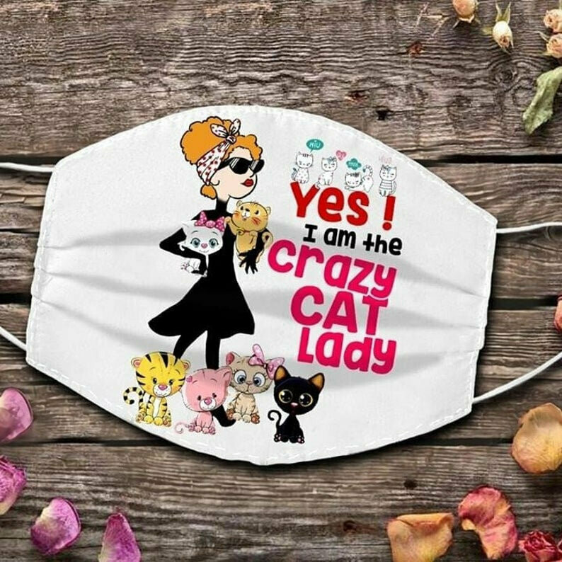 Yes I am the crazy cat lady 3 Layer Face Mask,Adult Kid FaceMask,Washable Reusable Face Mask,FAST Shipping Made in USA