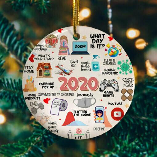 2020 Pandemic Quarantine Christmas Circle Ornament – Funny 2020 Christmas Ornament