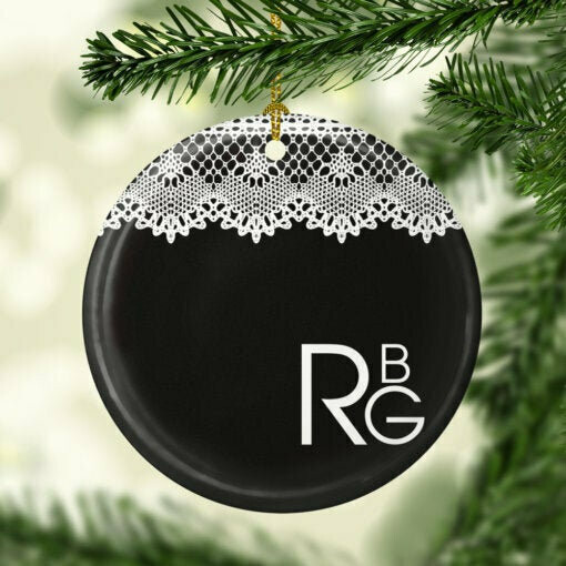 I Dissent RBG Lace Collar Decorative Ornament – Ruth Bader Ginsburg Ceramic Ornament – 2020 Christmas Ceramic Ornament