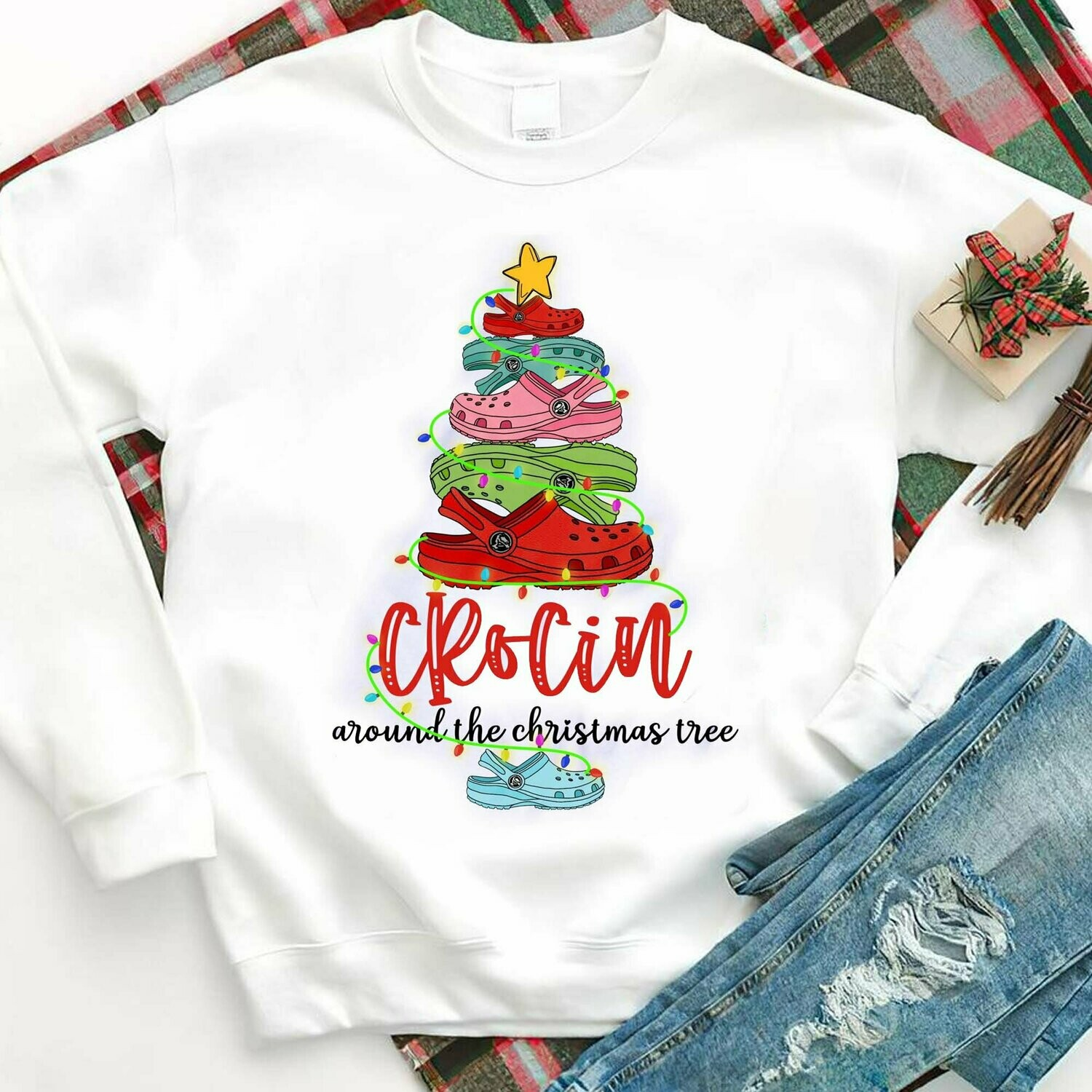 Crocin Around The Christmas Tree,Crocs Lover Shirt,Crocs Lover Gift,Christmas Tree Shirt,Christmas Gift For Crocs Lover,Christmas Sweatshirt