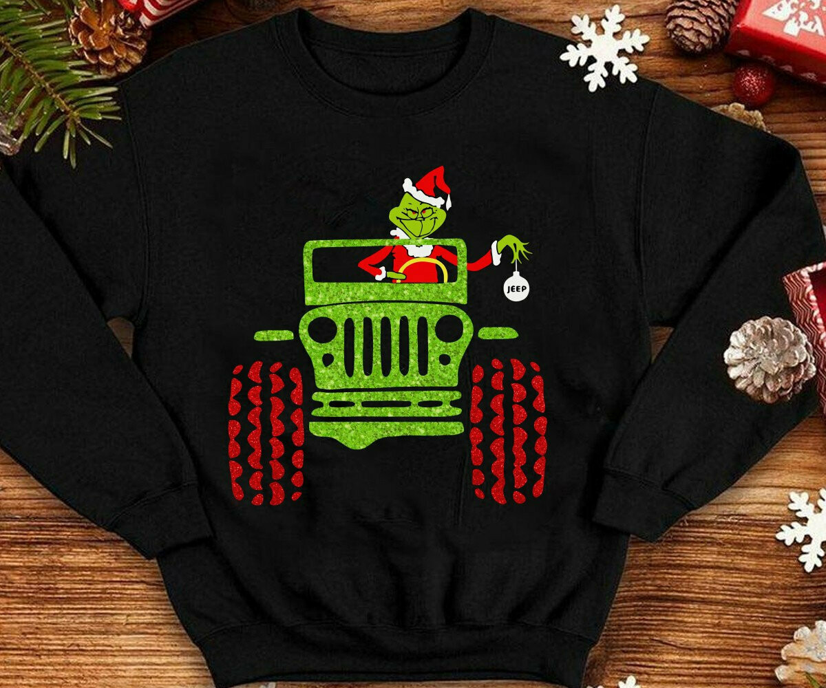 Grinch in Jeep Shirt,Merry Grinchmas,How the Grinch stole Christmas,Its a Jeep Thing,Grinch Driving Jeep