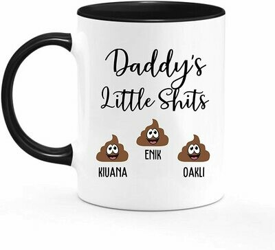 Mug-Mommy Daddy Little Shits 11oz Funny Coffee Mug, Little shits personalised mug, Customizable, Birthday Present - ceramic accent mug
