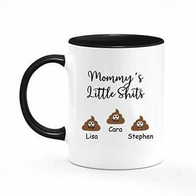 Mug-Mommy Daddy Little Shits 11oz Funny Coffee Mug, Little shits personalised mug, Customizable, Birthday Present