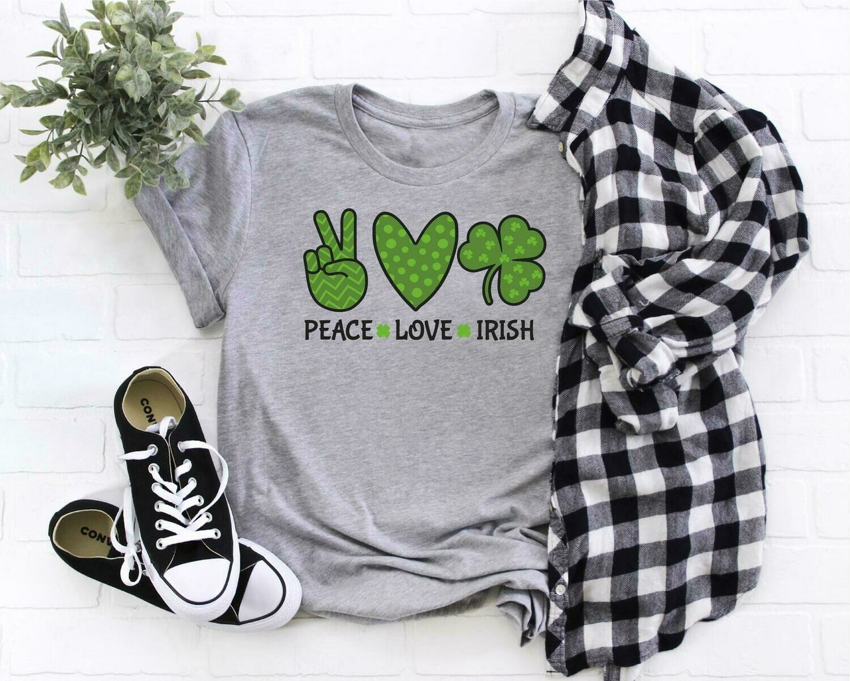 Peace Love Irish Shirt, Shamrock Shirt, St. Patrick's Day Shirt, Irish Lucky Shirt, Rainbow Tee, St. Paddy's Day,