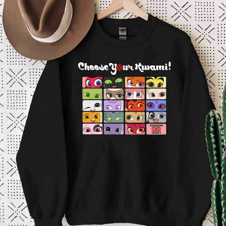Choose Your Kwami, Chat Noir Cat Noir Tshirt, Miraculous MariChat Adrienette Marinette Ladybug Cataclysm Streetstyle Trending Unisex Hoodies Sweatshirt Long Sleeve V Neck Kid T Shirt