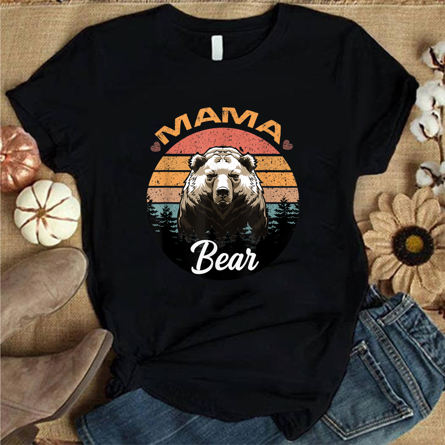 Mama Bear Vintage Retro Sunset Mother's Day Gift Idea 2021, Mother gift T Shirt, Gift for mom, Best Mom Ever Shirt, Mothers Day T Shirt, Mom Life Trending Unisex Hoodies Sweatshirt Long Sleeve V Neck