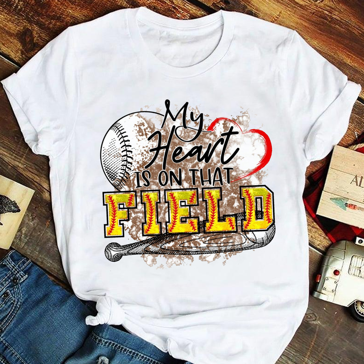 My heart is on that Field Softball T shirt, Softball Lover T shirt, Mom Softball Shirt, Gift for Mom shirt, Mother's Day Gift Trending Unisex Hoodies Sweatshirt V neck Kid T Shirt