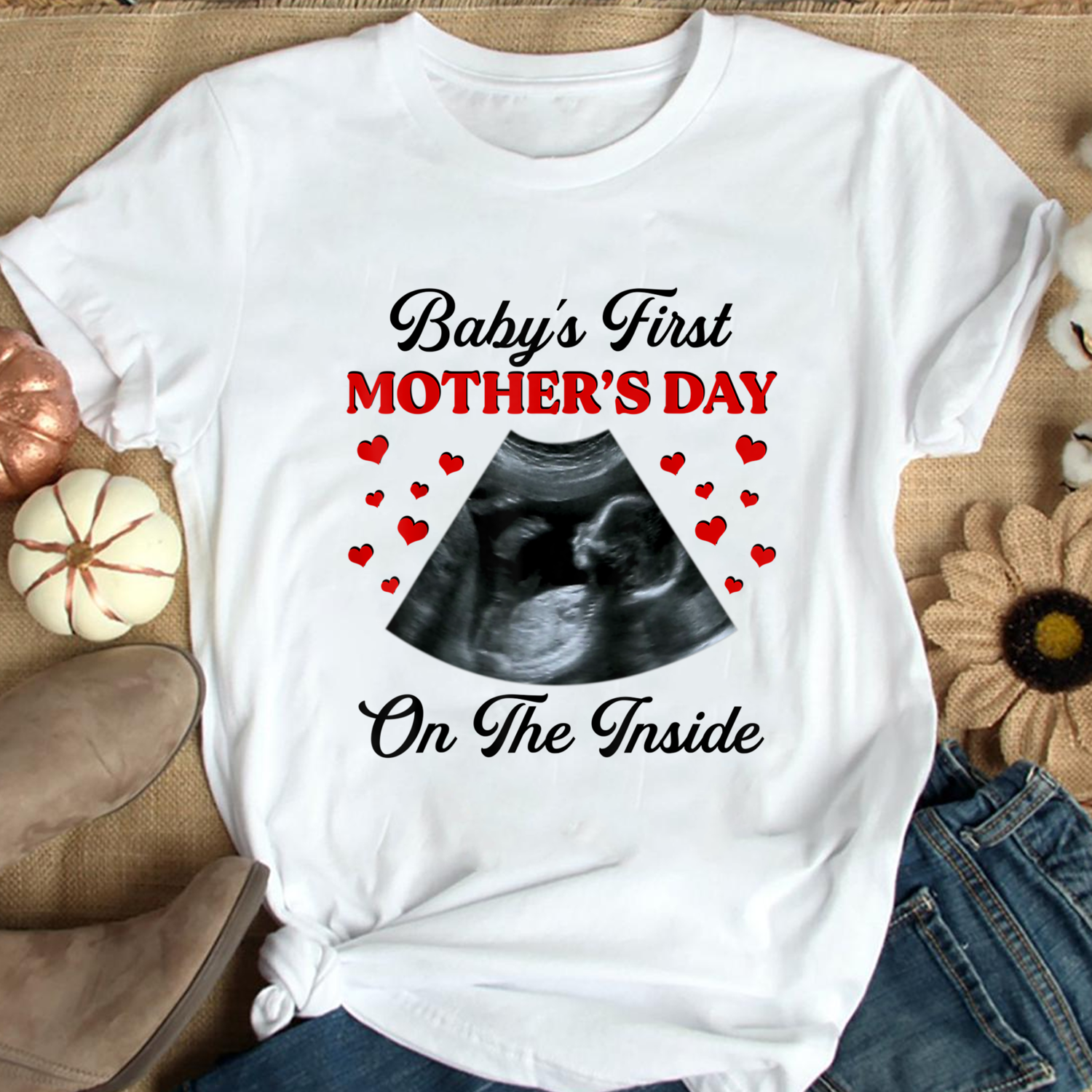 Baby's First Mother's Day On The Inside Ultrasonography Baby T shirt, Baby Shower Gift, Baby Reveal T shirt, New Mom Gift, Pregnancy Announcement Unisex Hoodies Sweatshirt Long Sleeve V Neck T Shirt