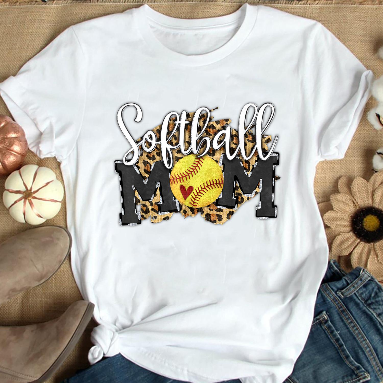 Softball Mom Leopard Funny Baseball Mom shirt, Mother's Day 2021 Gift, Best Mom Ever, Gift for Wife, Family Matching Trending Unisex Hoodies Sweatshirt Kid T Shirt